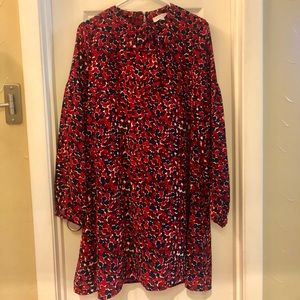 Long sleeved multicolor print dress (never worn)